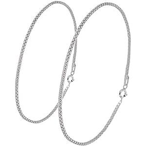 新宿銀の蔵 ベネチアンチェーン シルバー 925 ペアアンクレット 長さ21~27cm (レディース23cm メンズ23cm) シンプル 足首 銀 silver925 sv