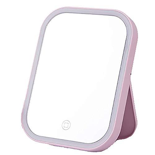 luckyW Espejo de Seguridad Verde Espejo de tocador para el hogar Espejo de Maquillaje LED Plegable portátil HD No deformado Luz de Relleno Escritorio