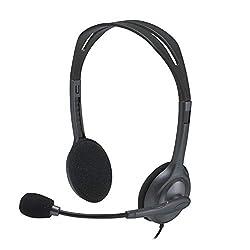 Logitech H111 Stero Headset, Black & Grey