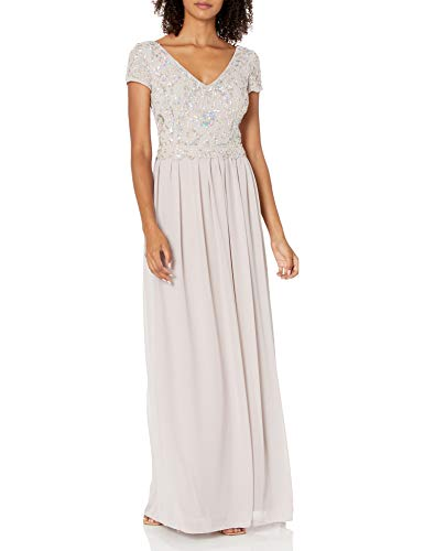 Adrianna Papell Women's BEADED GOWN WITH SOFT SKIRT, MARBLE, 16