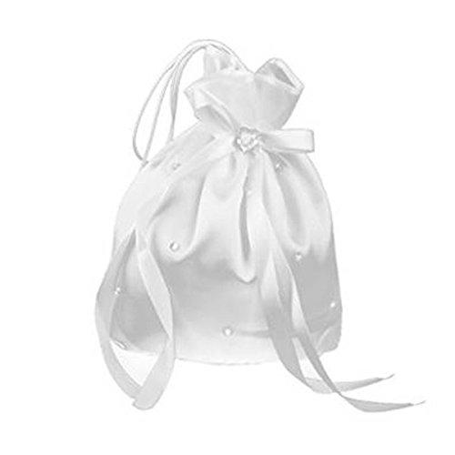 Pixnor - Bolsa de dinero para boda, blanca (con perla en forma de flor)