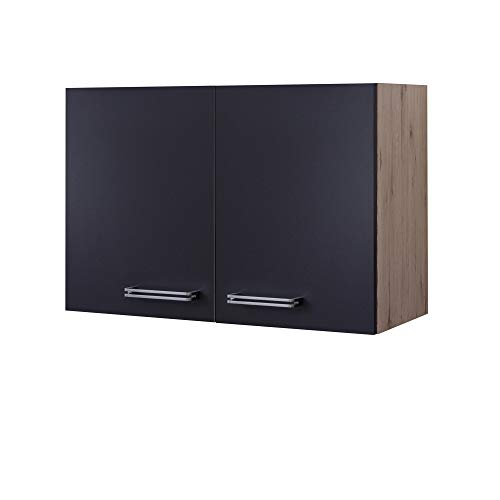 MMR Küchen-Hängeschrank LONDON - Küchenschrank - Oberschrank - 2-türig - 80 cm breit - Anthrazit