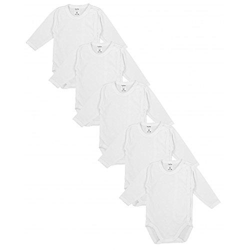 TupTam Unisex Baby Langarm Wickelbody aus Baumwolle 5er Set, Farbe: Weiß, Größe: 68