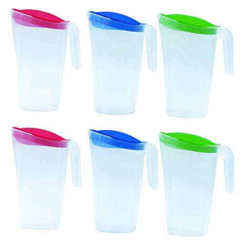 Home Line Lot de 6 pichets à jus 1,7 l (bleu, vert, rouge) – Verseuse à eau avec couvercle fixe – Verseuse avec verseur extérieur anti-goutte – Carafe à eau pour réfrigérateur et jus
