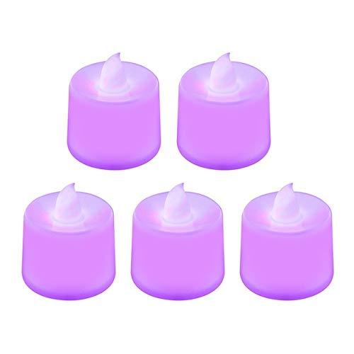 US Warehouse - Glow Party Supplies - 5PCS LED Candle Lamp Colorful Flame Tea Light Romantic Party Wedding Lamp Decor Chritmas Decorations Happy Birthday Home Decor - (Color: Purple)