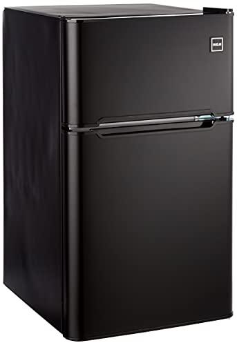 RCA RFR832-BLACK, 3.2 cu. ft. 2 Door Fridge with Freezer, Black Bar Fridge
