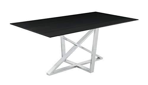 Coaster Home Furnishings Neveen Rectangular X-Cross Black and Chrome Dining Table