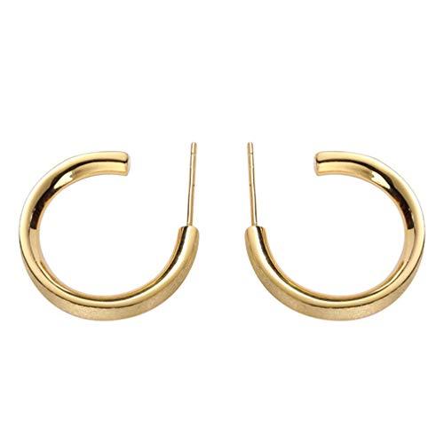 Orecchini a cerchio stile coreano Orecchini a bottone a forma di lettera grande Orecchini dal design semplice argento