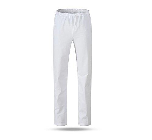 WDF medical scrub pants doctors nurses pants white man elastic waist breathable