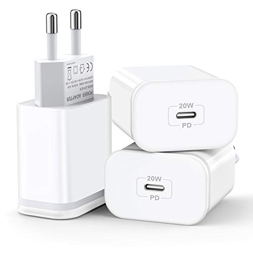 20W Carga Rápido USB C Cargador, 3-PACK Pared Enchufe Movil Adaptador Replacement para iPhone 12/ 12 Pro/ 12 Pro Max /11 / Xs Max XR X 8 Plus, Pad Pro, AirPods Pro, Google Pixel 3/2/XL, Samsun