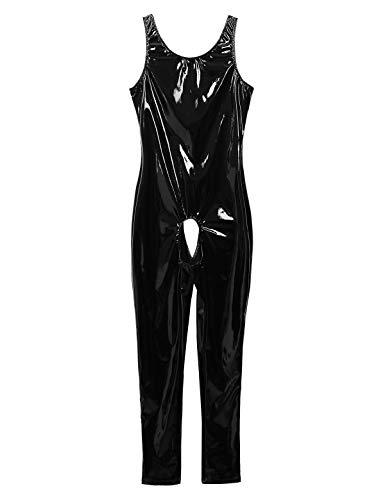 Nimiya Women's One Piece Wet Look Leather Sleeveless U-Neck Jumpsuit Catsuit Teddy Clubwear