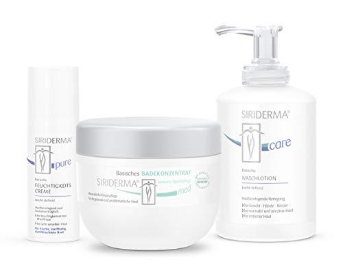 SIRIDERMA® Pflege-Set bei Rosacea/Couperose | Badekonzentrat, Waschlotion, Feuchtigkeitscreme | 3 Gratis-Probiergrößen (leicht duftend)