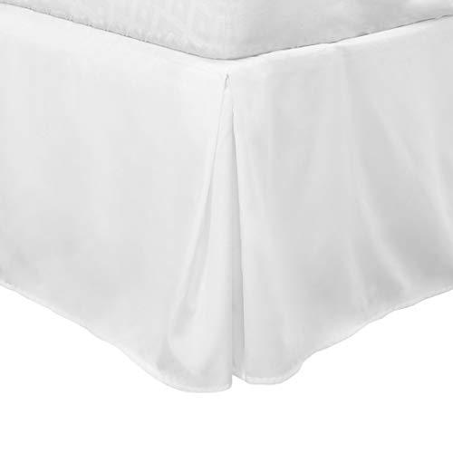 PiccoCasa Plissierter Bettrock im klassischen Stil, mit Rüschen und Rüschen, strapazierfähig, gebürstet, solide Hotelqualität, 40,6 cm lang, Weiß
