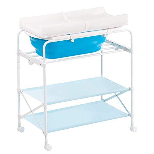 Equipo diario Plegable 2 en 1 Baño para bebés Cambio de tocador Unidad de mesa Unidad de almacenamiento Toallero Bandejas de guardería Unidad de muebles Mueble de mesa de guardería Muebles con gran
