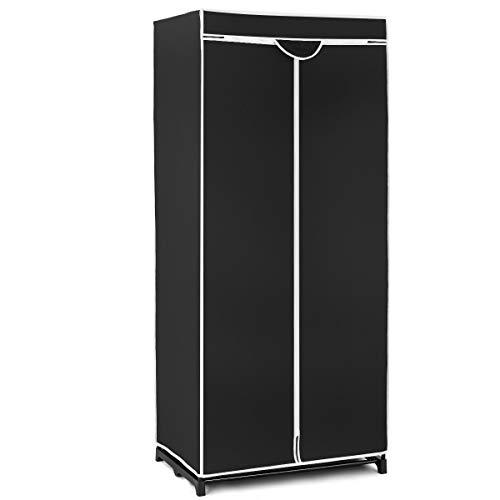 GOPLUS Kleiderschrank Stoffkleiderschrank Stoff Regal Garderobenschrank Faltschrank mit Reißverschluß aus Stoff, Farbewahl 170 x 75 x 50 cm (Schwarz)