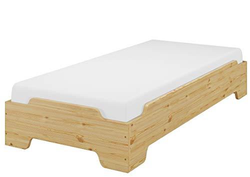 Erst-Holz® Stapelbett, Kinderbett, Gästebett 80x200 Massivholz Kiefer Matratze Rost 60.56-08-190M