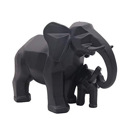 Kücheks Elefante, Madre e Hijo, Adornos de Escultura, Figura Abstracta de Resina de Animal, Estatua para decoración del hogar, Accesorios, Regalos, Manualidades, Negro