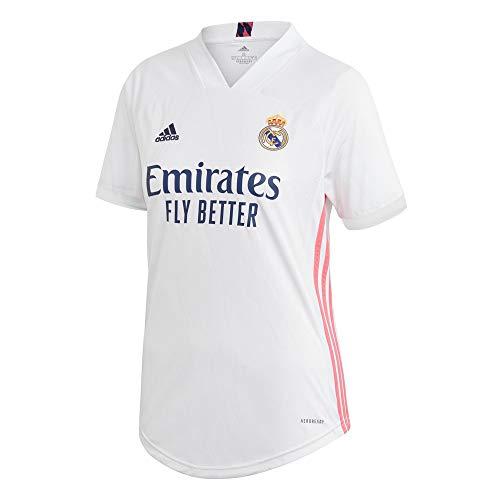 Adidas Real Madrid Temporada 2020/21 Camiseta Primera Equipación Oficial, Mujer, Blanco, S