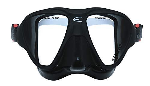 EPSEALON - Máscara de buceo Deepsub ideal para la caza submarina – campo de visión profundo – Silicona hipoalergénica + aro de policarbonato – Hebillas de ajuste rápido – Negro – 300 g