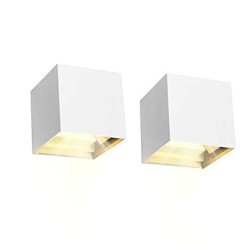 2 Pcs 12W Aplique pared LED Blanco Cálido 3000K 1000lm Lampara de pared Interior/Exterior Impermeable IP65 Ángulo ajustable Lámpara Pared Blanco