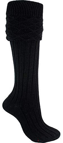 I Luv LTD Scottish Wool Kilt Hose In Black traditionellen Entwurf Größe Large - UK: 8,5-11,5