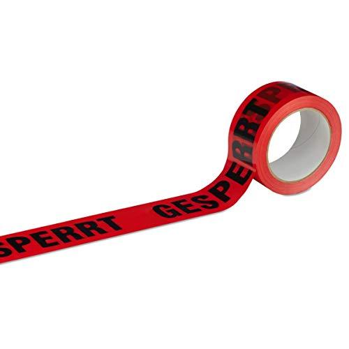 Klebeband Packband GESPERRT 6 Rollen rot mit schwarzem Druck - 50 mm breit x 66 m lang