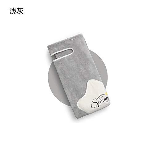 Xiaobing Toalla de Microfibra Toalla de baño de Lana Coral Absorbente Suave Albornoz para Damas del hogar - Gris Claro-L