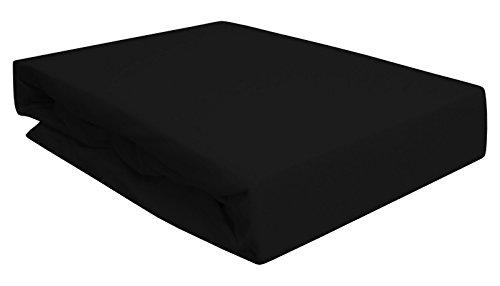 Arle-Living Spannbettlaken für Wasserbett/Boxspring/Übergrößen 180-200x200-220 cm Schwarz (schwarz/Black/Noir)