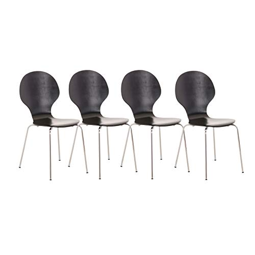 CLP 4X Stapelstuhl Diego l Ergonomisch geformter Konferenzstuhl mit Holzsitz und Metallgestell I Stapelbarer Stuhl mit pflegeleichter Sitzfläche, Farbe:schwarz