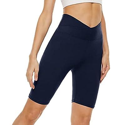 """Cross Waist Biker Shorts for Women – 8"""" High Waisted Workout Short Crossover Leggings for Yoga Running Gym"""