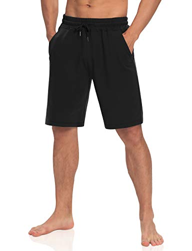 Agnes Urban Mens 9' Long Cotton Shorts Casual Lounge Elastic Waist Workout Athletic Gym Bermuda Sweat Shorts with Pockets Black XL