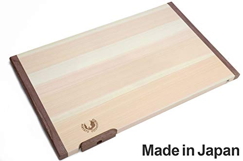 Yoshihiro Hinoki Cypress Anti-Bacterial Japanese Natural Wooden Professional Grade Cutting Board with Anti Twisting Walnut Rim (X-Large) Made in Japan