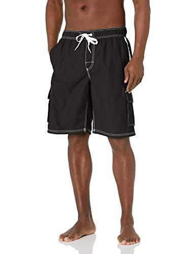 Kanu Surf Men's Barracuda Swim Trunks (Regular & Extended Sizes), Black, Medium