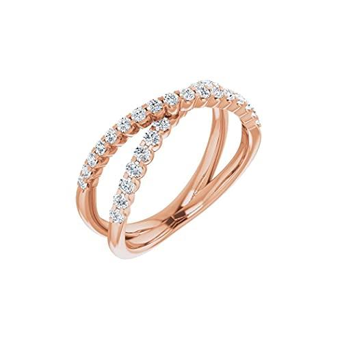 Anillo de oro rosa de 14 quilates pulido con diamante de 0,5 quilates y cruz de fe religiosa, talla N 1/2, regalo para mujer