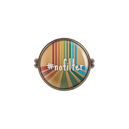 Mylery Ring met Cabochon afbeelding Hashtag Geen Filters Retro Brons verschillende maten