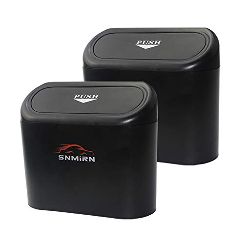 SNMIRN Portable Hanging Mini Car Garbage Can,Wastebasket Trash Can with Lid, Automotive Mini Trash Bin Holder Garbage Can, Plastic Desktops Trash Can, Traveling Portable Car Trash Can 2pack