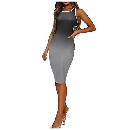 Womens Summer Midi Dresses, Fashion Gradient Color Sleeveless Crew Neck Backless Slim Waist Tight-Fitting Dress