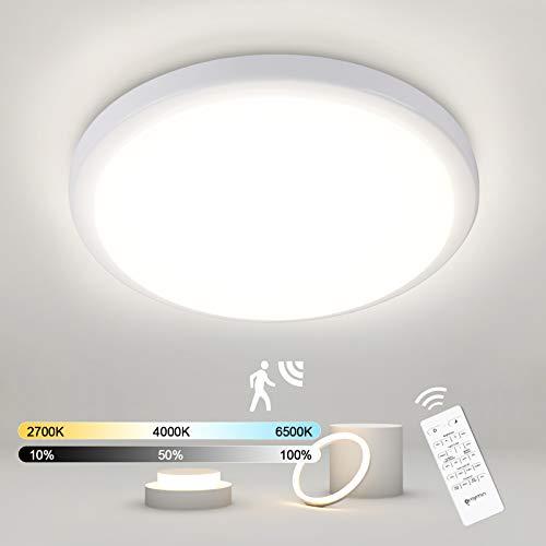 LED Deckenleuchte mit Bewegungsmelder(Einstellbar), 18W 1800LM LED Deckenlampe Dimmbar mit Fernbedienung, Memoryfunktion, IP54 Sensorlampe für Garage, Badezimmer, Treppen, Balkon, Flur, 2700K-6500K