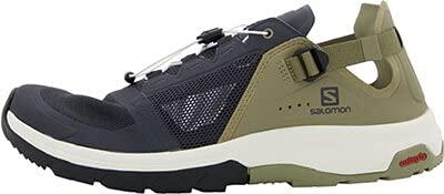 Salomon Men's TECH Amphib 4 Sneaker, Ebony/Mermaid/Vanilla Ice, 10