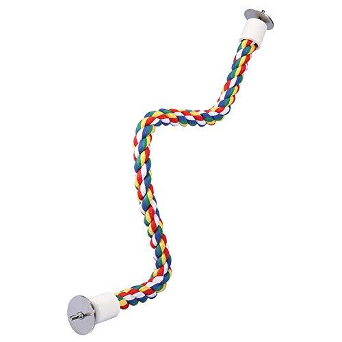 Juguetes de pájaros,Columpio para jaula de periquitos cuerda de algodón de colores para aves loro mascotas percha de pie Columpio masticar juguete