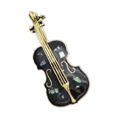 Moda Lychee retro violonchelo guitarra eléctrica en forma de cristal mujeres hombres broche alfileres insignia ropa Clips joyería regalo