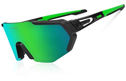 Queshark Gafas De Sol Polarizadas para Ciclismo con 3 Lentes Intercambiables, Protección UVA & UVB, Bicicleta de Carretera MTB Gafas de Ciclismo,Certificación CE