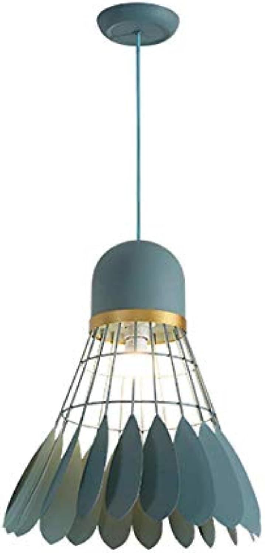 BYDXZ   Nordic Pendelleuchte Metall Dekoration, E27 Kronleuchter Macarons Badminton Kreative Moderne Leuchte Einstellbar für Küche Restaurant-Grün 35 cm