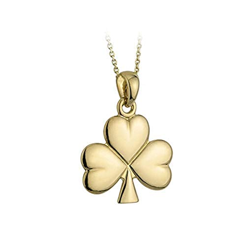 Tara Solvar Shamrock Necklace Medium Gold Plated 18 Inches Chain Made in Ireland