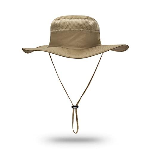 Sun Hats for Men Women Fishing Hat UPF 50+ Breathable Wide Brim Summer UV Protection Hat (Khaki)