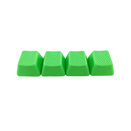 Big Chic Blank TPR Rubber Gaming Keycaps 4 Keys Set 1u for Cherry MX Mechanical Keyboards Compatible OEM (R3, Neon Green)
