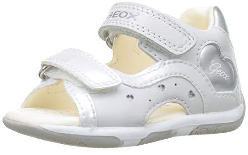 Geox B Sandal Tapuz Gril C C, Sandales bébé Fille, Blanc (White/Silver C0007), 24 EU