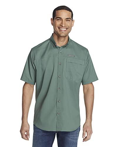 G.H. Bass & Co. Men's Explorer Short Sleeve Fishing Shirt Solid Single Pocket, Duck Green, X-Large