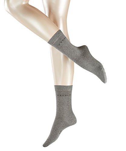 ESPRIT Damen Socken Uni 2-Pack - 80% Baumwolle, 2 Paar, Grau (Light Grey Melange 3390), Größe: 39-42