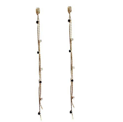 Yhhzw Jewelry Dangle Earrings Clear Black Crystal With Thin Chain Tassel Drop Earrings For Women Gifts